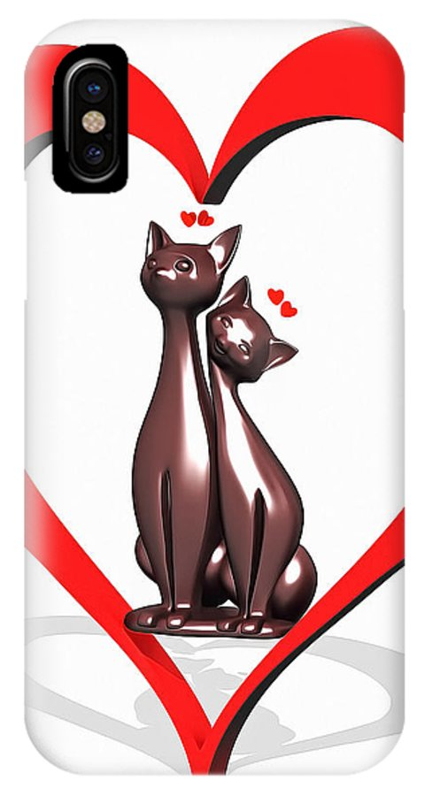 8 IPhone X / XS Case featuring the digital art Curiosity Heart Loves The Cats by Nenad Cerovic