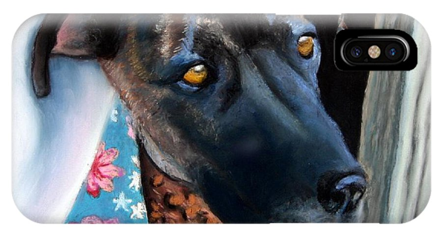 Great Dane IPhone X Case featuring the painting Whats Going On? by Minaz Jantz