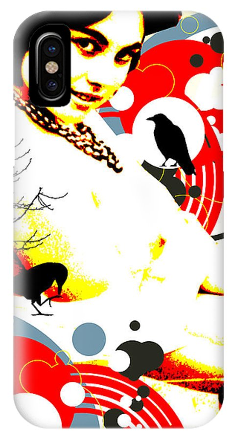 Nostalgic Seduction IPhone X Case featuring the digital art Curious Crow by Chris Andruskiewicz