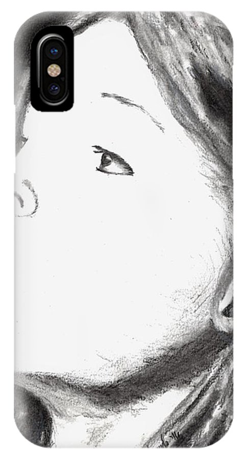 Charcoal IPhone X Case featuring the drawing Curious by Dale Arends