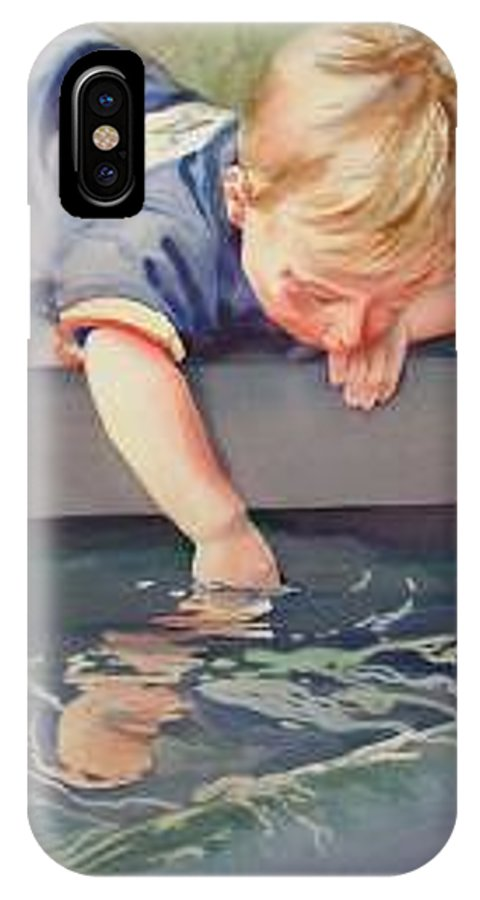 Boy Playing In Water IPhone X Case featuring the painting Curious by Marlene Gremillion