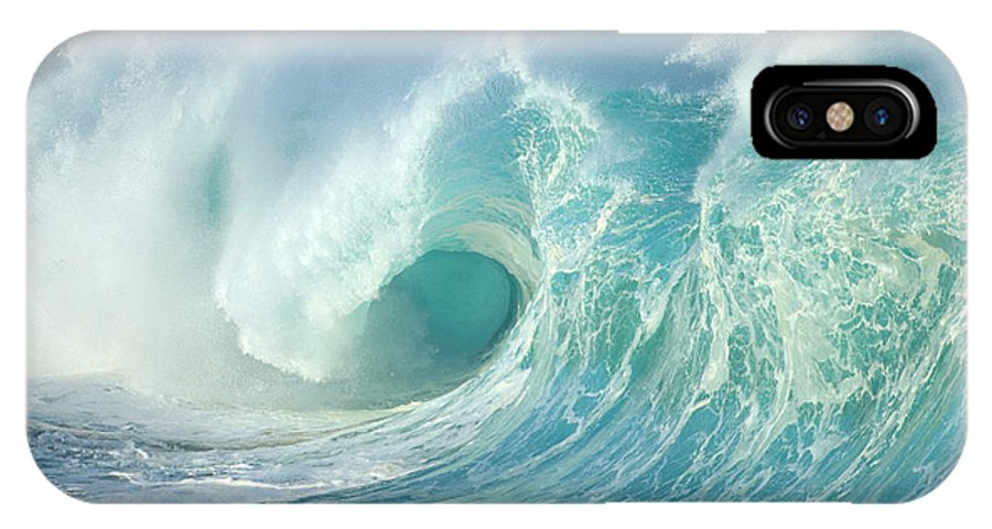 Aqua IPhone X Case featuring the photograph Curling Wave by Vince Cavataio - Printscapes