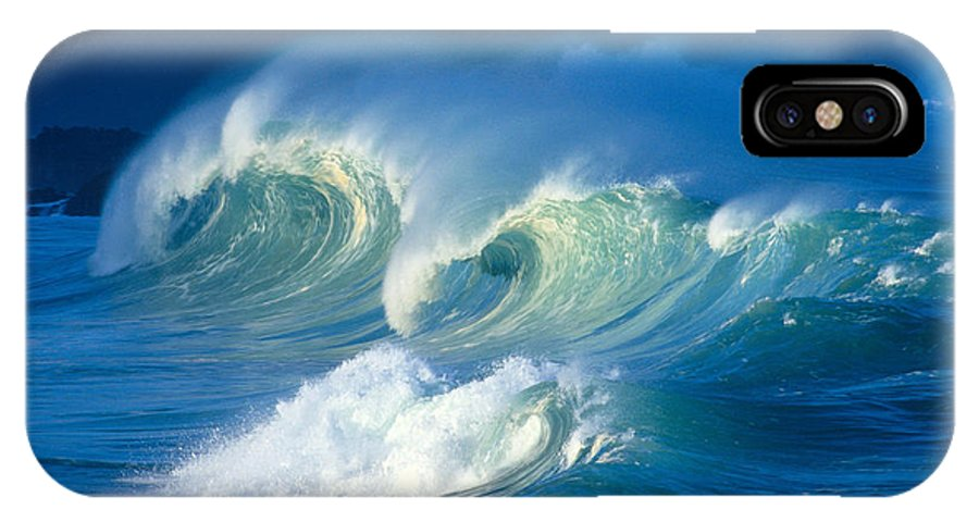 Aqua IPhone X Case featuring the photograph Curling White Caps by Vince Cavataio - Printscapes