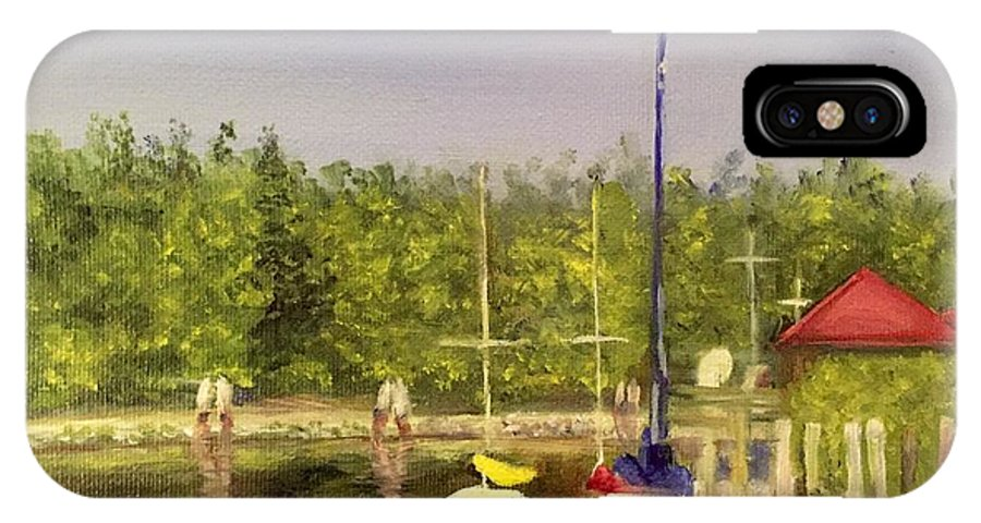 Sailboats IPhone X Case featuring the painting Curtin's Marina II by Sheila Mashaw