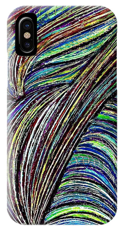 Abstract IPhone X Case featuring the drawing Curved Lines 7 by Sarah Loft