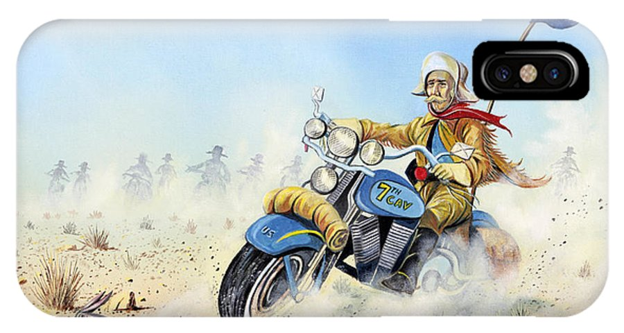 Bike IPhone X Case featuring the painting Custer On A Hog by Don Griffiths