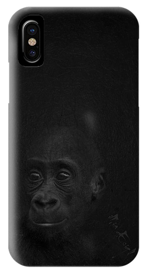Imia Design IPhone X Case featuring the digital art Cute Gorilla Baby by Maria Astedt