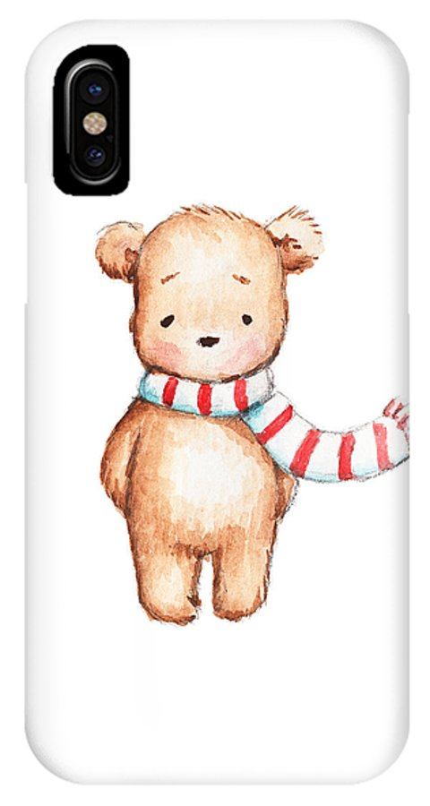 info for 63f3e e4ce8 Cute Teddy Bear With Red And White Scarf IPhone X Case