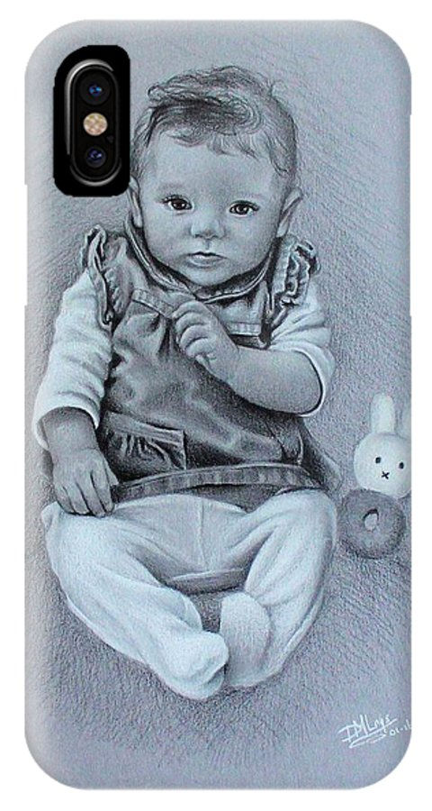 Child IPhone X Case featuring the drawing Cuteness by Denise Nijs