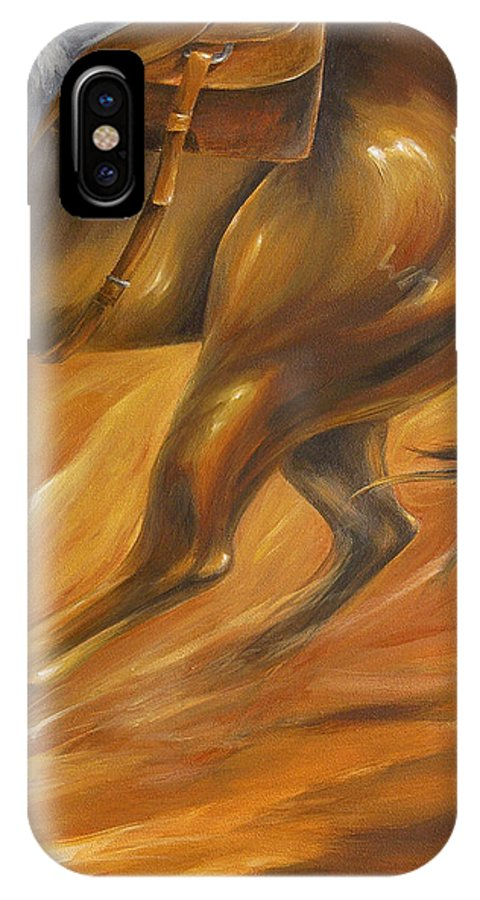 Horse Rodeo Sport Cutting Reining Western Cowboy IPhone X Case featuring the painting Cutting Horse Closeup 2 by Dina Dargo