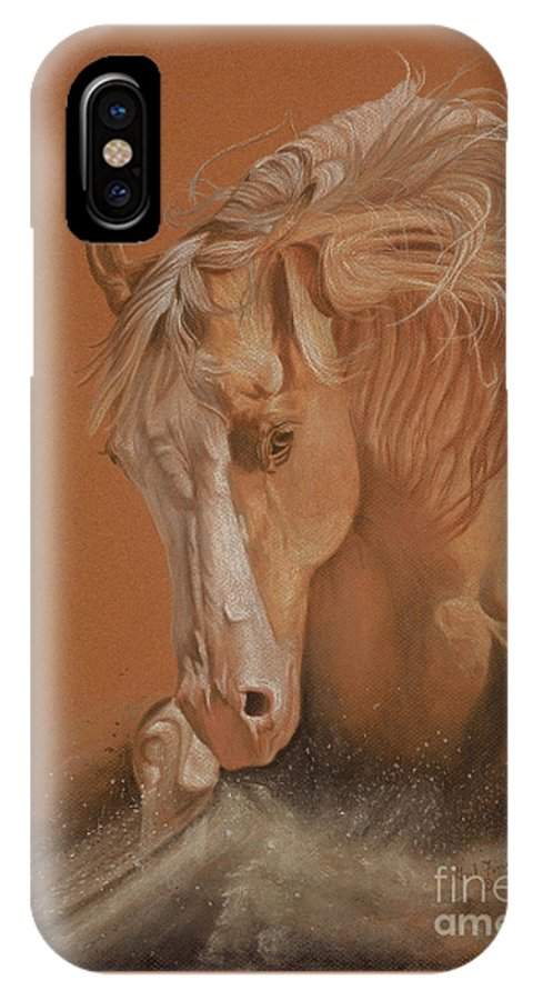 Horse IPhone X Case featuring the painting Cutting Horse by Gail Finger