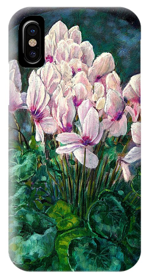 Cyclamen Flowers IPhone Case featuring the painting Cyclamen In Orbit by John Lautermilch