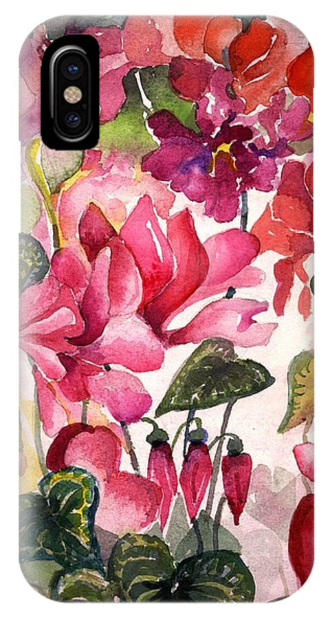 Cyclamen IPhone X Case featuring the painting Cyclamen by Mindy Newman