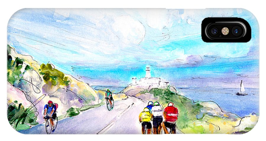 Travel IPhone X Case featuring the painting Cycling In Majorca 02 by Miki De Goodaboom