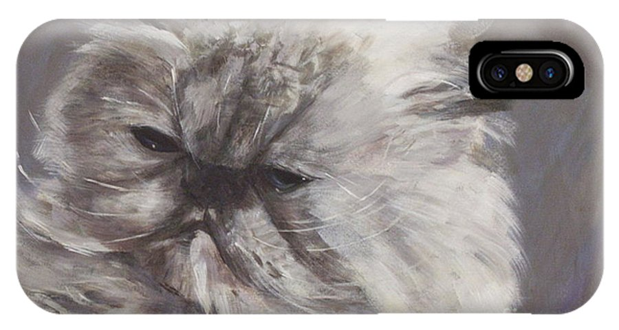 Himalayan Cat IPhone X Case featuring the painting Cynthia by Elizabeth Ellis