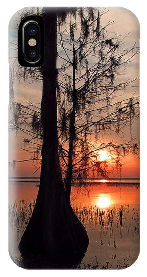 Nature IPhone X Case featuring the photograph Cypress Sunset by Peg Urban