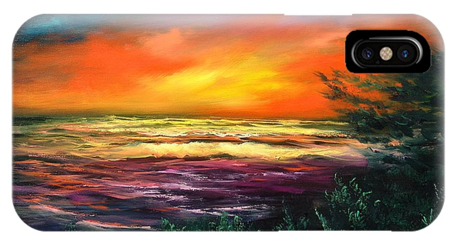 Ocean IPhone Case featuring the painting Cypress Sunset by Sally Seago