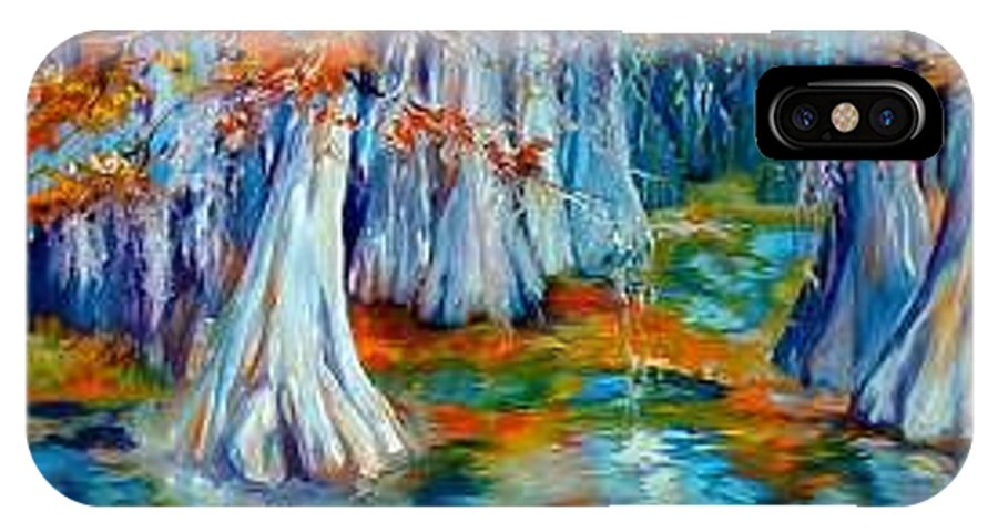 Tree IPhone X Case featuring the painting CYPRESS TREES ALONG The BAYOU by Marcia Baldwin