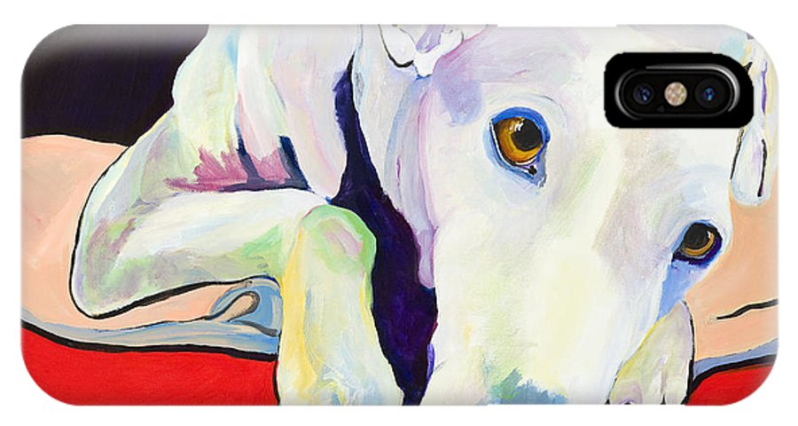 Animals Pets Greyhound IPhone Case featuring the painting Cyrus by Pat Saunders-White