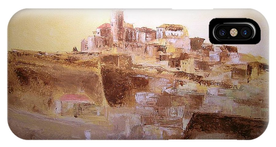 Original Cityscpae IPhone X Case featuring the painting D Alt Vila Ibiza Old Town by Lizzy Forrester