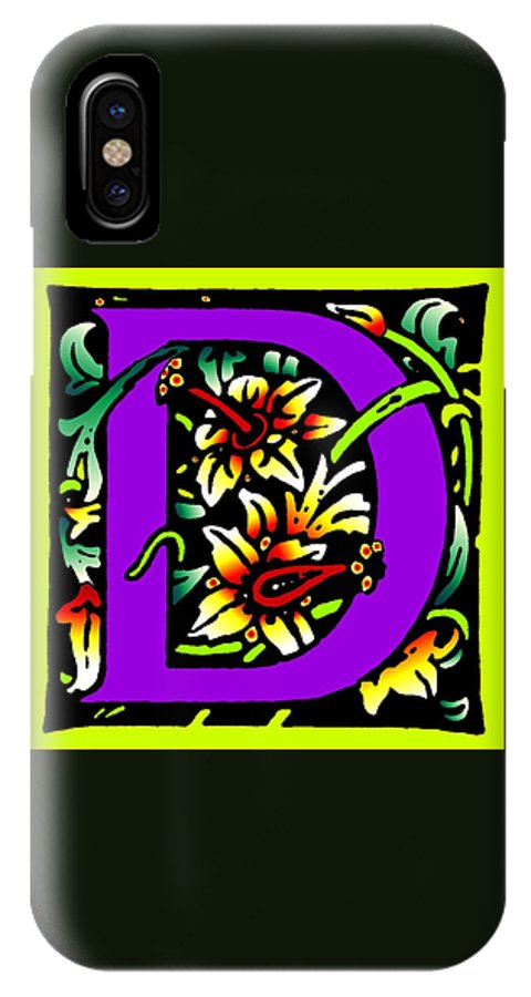 Alphabet IPhone Case featuring the digital art D In Purple by Kathleen Sepulveda