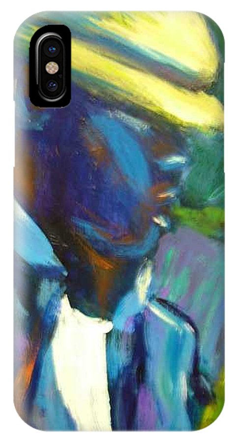 Sax Player IPhone X Case featuring the painting D by Jan Gilmore