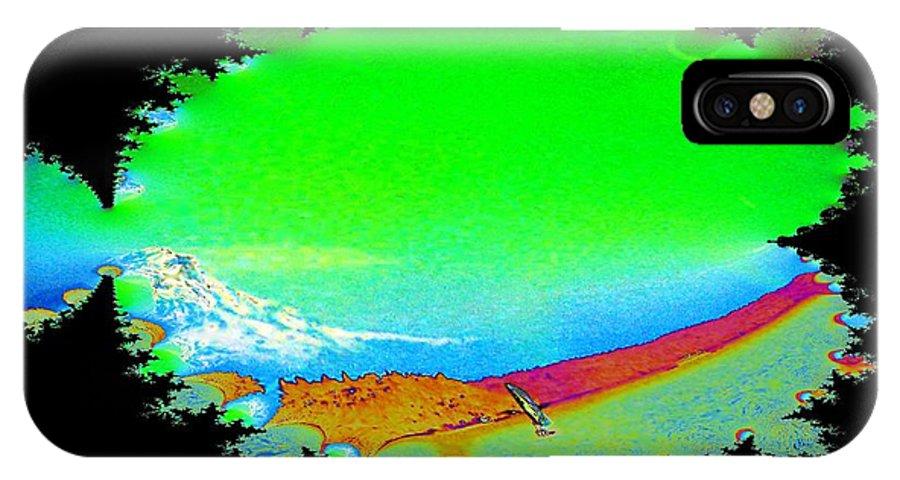 Washington IPhone X Case featuring the digital art Da Mountain Sail In Fractal by Tim Allen