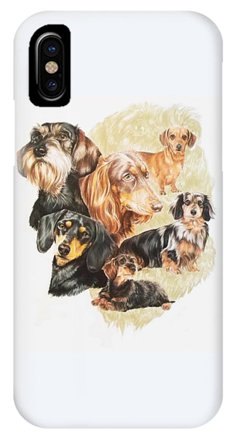 Purebred Dog IPhone X Case featuring the drawing Dachshund Revamp by Barbara Keith