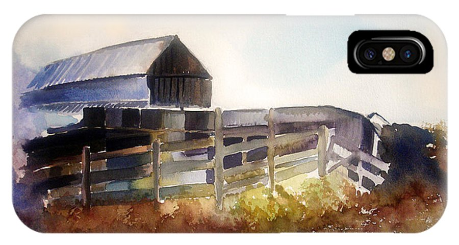 Farmhouse IPhone X Case featuring the painting Dad' Farmhouse by Allison Ashton