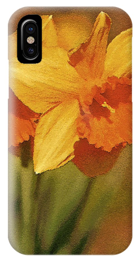 Daffodil IPhone X / XS Case featuring the digital art Daffodil Delights by Claudia O'Brien