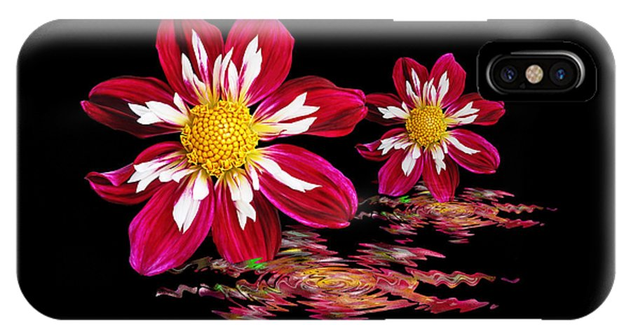 Red Flower IPhone X / XS Case featuring the photograph Dahlia Reflections by Gill Billington