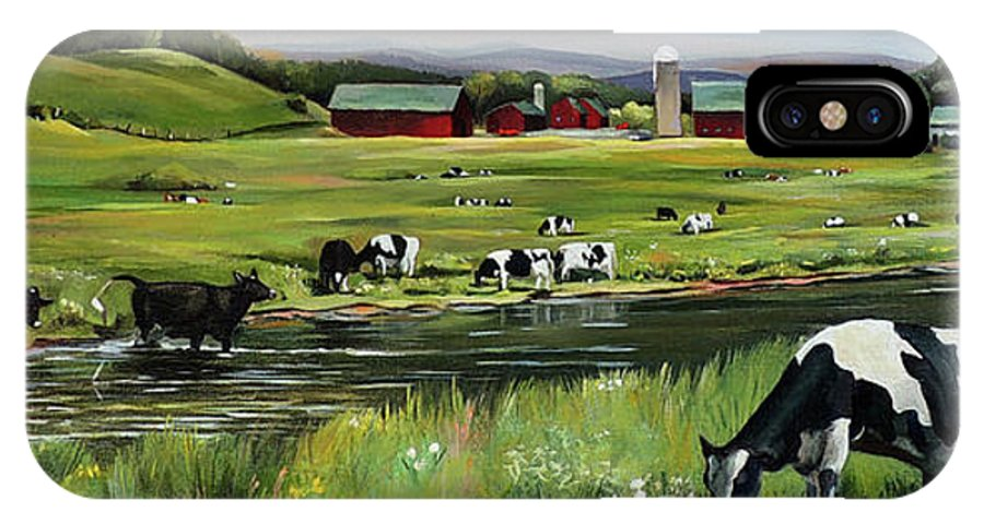 Landscape IPhone X Case featuring the painting Dairy Farm Dream by Nancy Griswold