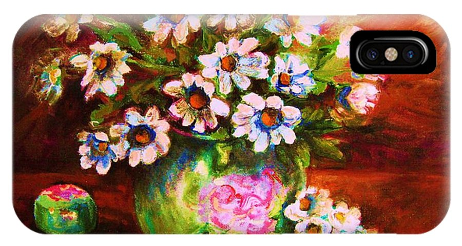 Daisies IPhone X Case featuring the painting Daisies And Ginger Jar by Carole Spandau