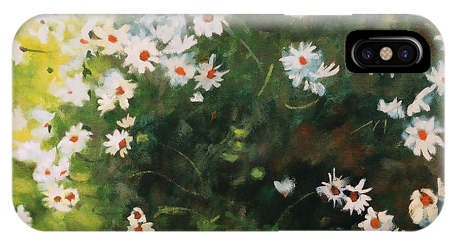 Daisies IPhone X Case featuring the painting Daisies by Iliyan Bozhanov