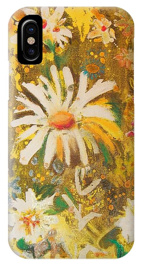 Floral Abstract IPhone X Case featuring the painting Daisies In The Wind Vii by Henny Dagenais