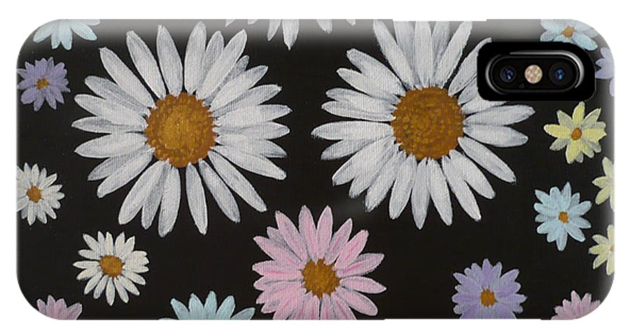 Daisy IPhone X Case featuring the painting Daisies On Black by Monika Shepherdson