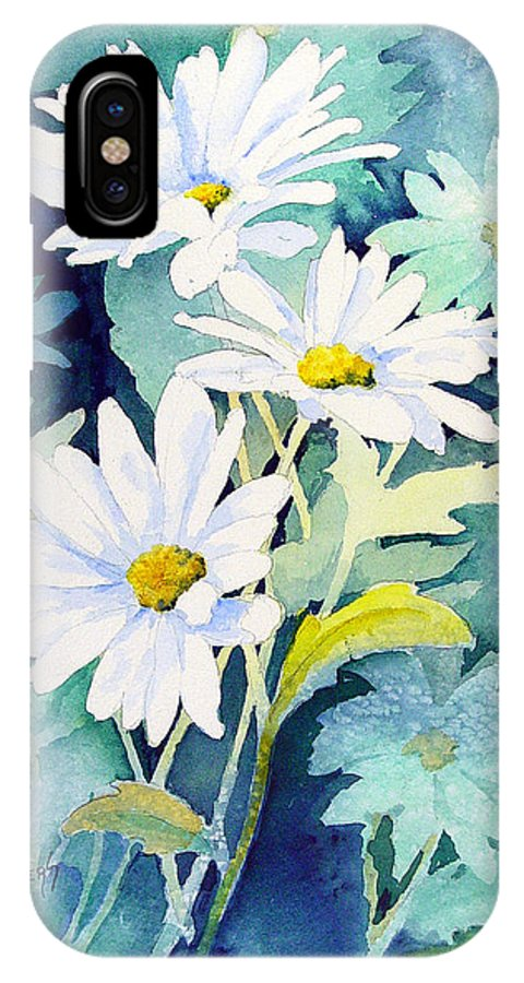 Flowers IPhone X Case featuring the painting Daisies by Sam Sidders