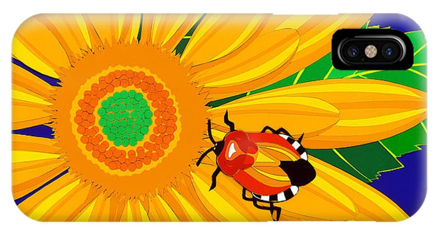 Nature IPhone Case featuring the drawing Daisy And Shieldbug by Lucyna A M Green