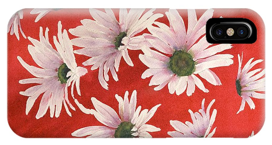 Flowers IPhone X Case featuring the painting Daisy Chain by Ruth Kamenev