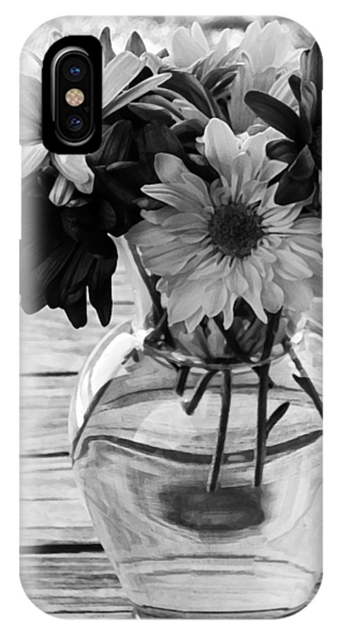 Daisy IPhone X Case featuring the photograph Daisy Crazy Bw by Angelina Vick