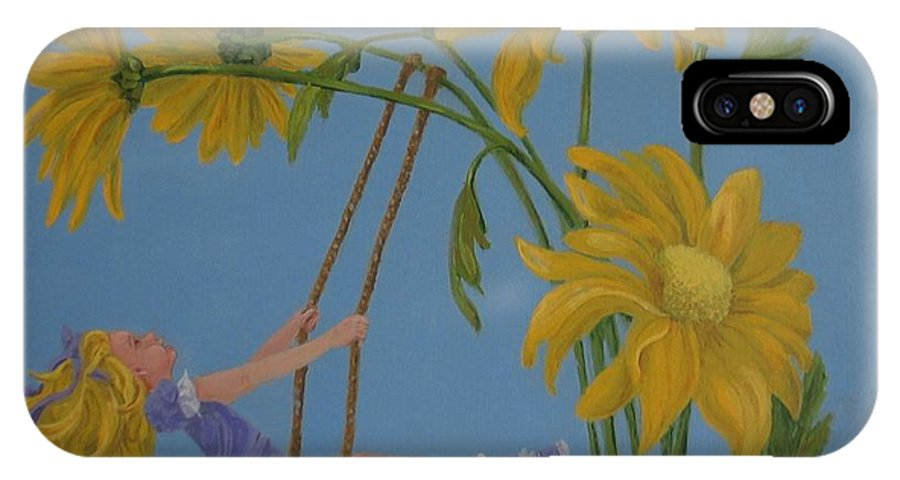 Swinging IPhone X Case featuring the painting Daisy Days by Karen Ilari