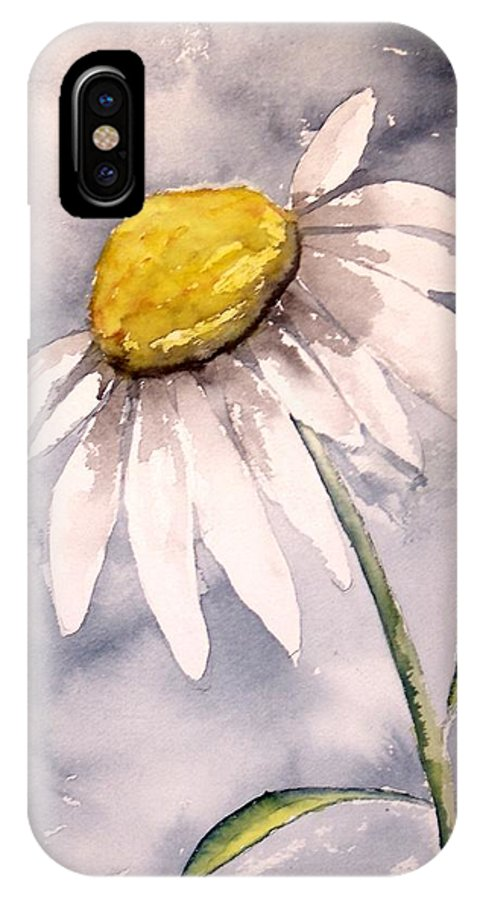 Daisy IPhone X Case featuring the painting Daisy Modern Poster Print Fine Art by Derek Mccrea