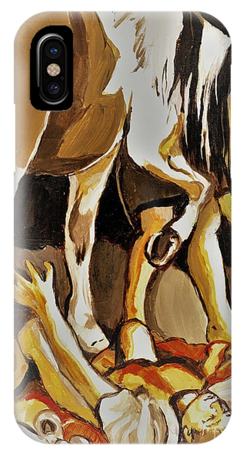 Horse IPhone X Case featuring the painting Damascus Road by Carliss Prosser
