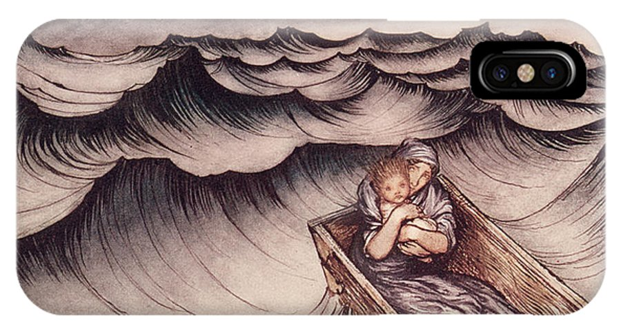 Arthur Rackham IPhone X / XS Case featuring the drawing Danae And Her Son Perseus Put In A Chest And Cast Into The Sea by Arthur Rackham