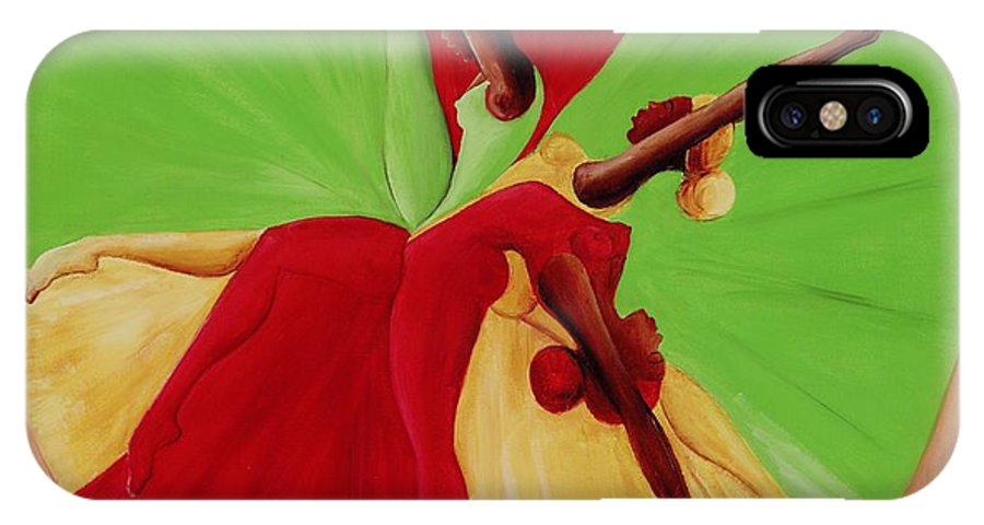 Dancing IPhone X / XS Case featuring the painting Dance Circle by Ikahl Beckford