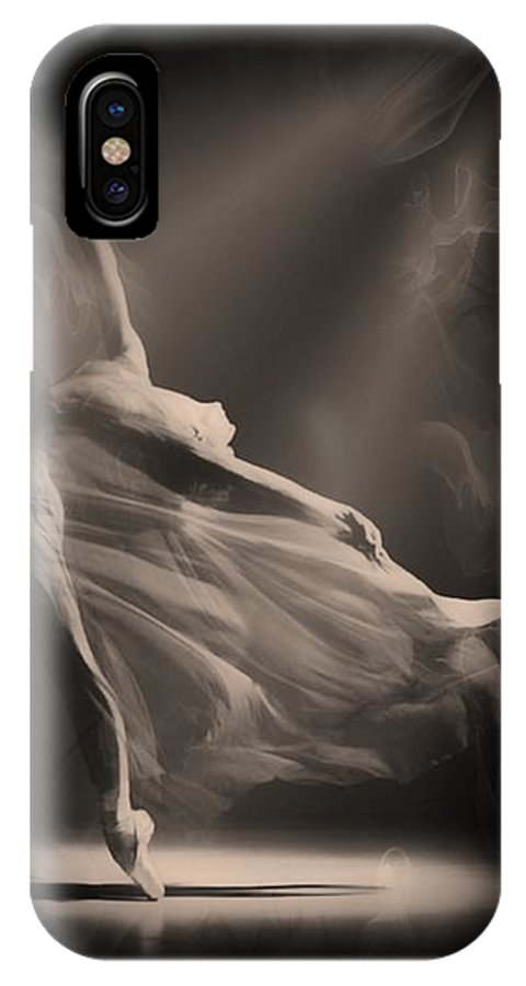 Black IPhone X Case featuring the digital art Dance Of The Ghost by Michael Knight