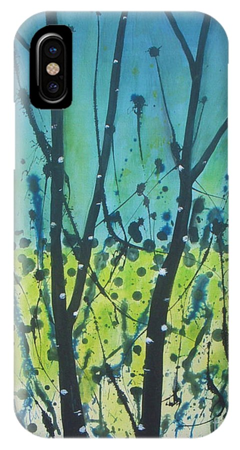 Abstract IPhone X Case featuring the painting Dance Shadow by Vesna Antic