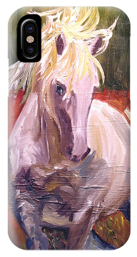 Horse IPhone X Case featuring the painting Dances In Fire Meadow by Michael Lee