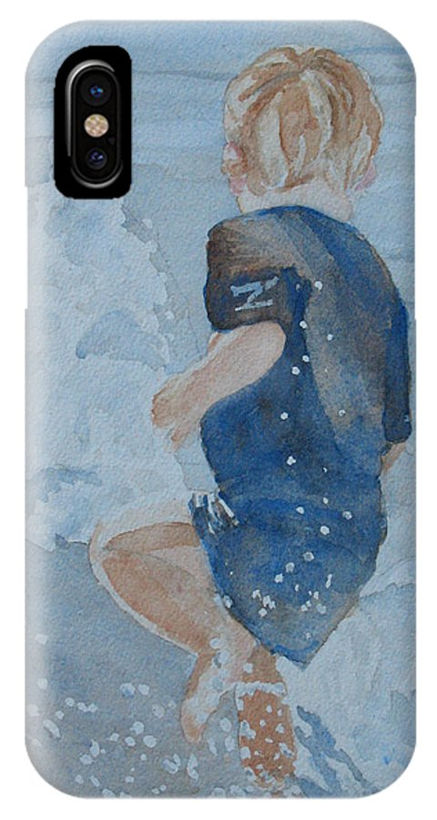Boy IPhone X Case featuring the painting Dances With Fountains by Jenny Armitage