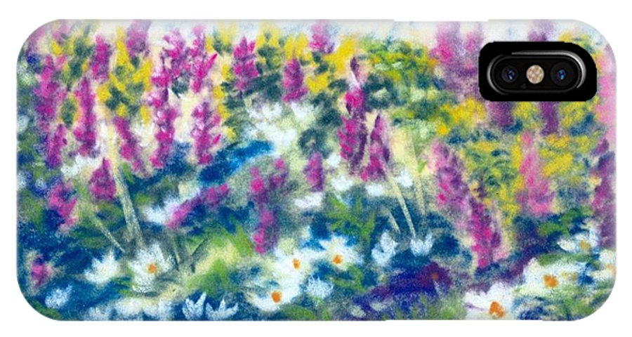 Flowers IPhone X Case featuring the painting Dancing Daisies by Sandy Sereno